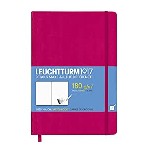 LEUCHTTURM1917 344996 Sketchbook Medium (A5) with white, extra strong 180 g/sqm paper, 96 pages, Berry