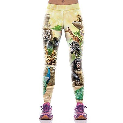 Arrivée Monde animal imprimé Leggings Femme pantalon de sport Fitness Compression Pantalones Mujer Pantalon Leggins KYK1071 Taille unique