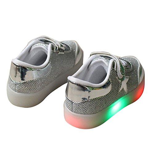 Highdas Jungen Mädchen Aufhellen Leder Anti Slip Light Up Schuhe Silver