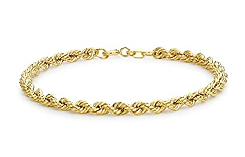 Carissima Gold 9ct Yellow Gold Rope Bracelet of 18cm/7