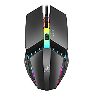 ZHH Gaming-Maus RGB verkabelt, mit LED-Licht USB-Computerspiel Konkurrenzfähige Maus Desktop-Laptop PC Gaming-Maus 1600/800 / 1200DPI