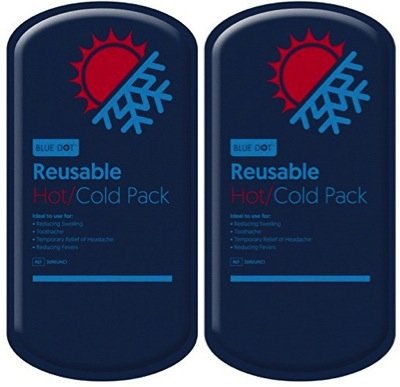 Bleu à pois de luxe réutilisable pack gel chaud & froid Taille L (13x 27cm)–2pièces