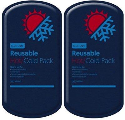 Blau Dot Luxus wiederverwendbar Hot & Cold Gel Pack groß (13x 27cm)–Twin Set