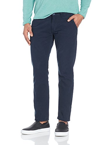 People Men's Casual Trousers (8907496164327_P10102059602219_36W x 33L_Navy)