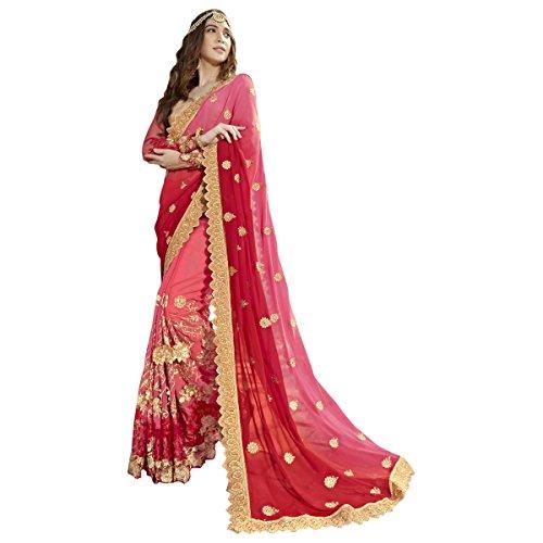Aagaman Fashions indische Frauen orange Faux Georgette gestickte Saree, Sari (Top Perlen Georgette)