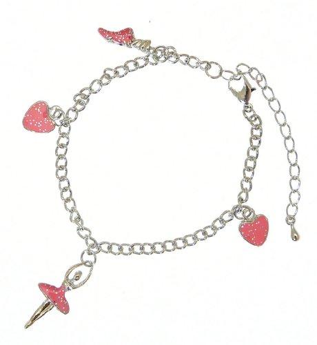 Bel colore metallo argento e rosa braccialetto di fascino dello smalto ballerina - completamente regolabile