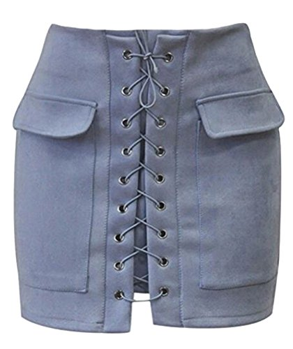 Ghope Jupe Femme en Daim Taille Haute Jupe Sexy Jupe Mini Jupe Crayon Mini Jupe avec Poches et Bandage Bleu Gris