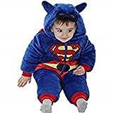 Fancy Me Kleinkind Kleinkind Jungen Mädchen Super Baby Superheld mit Kaputze Schneeanzug Einteiler mit Maske Detail Kostüm Kleid Outfit Age 9 Monate - 5 Jahre - Blau, 9-12 months (80cms)