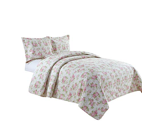 chezmoi Collection 3-teiliges 2-in-1 Wende Rosa rose Vintage Washed 100% -cotton Quilt Set, baumwolle, elfenbeinfarben, King Size Rosa Rose Cottage