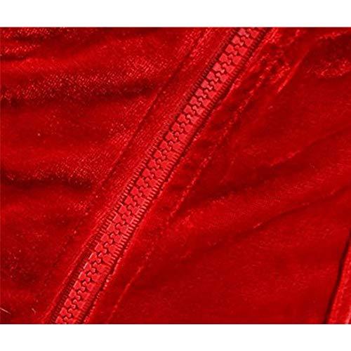 Mibuy Damen Negligee Nachtwäsche Reizvolle Strapsen Reizwäsche Erotik Dessous Set Sexy Bodysuit Plüsch Negligee Einstellbar Lingerie Verband Overbust Korsett Unterwäsche Babydoll Nachthemd(Rot,6XL) - 6