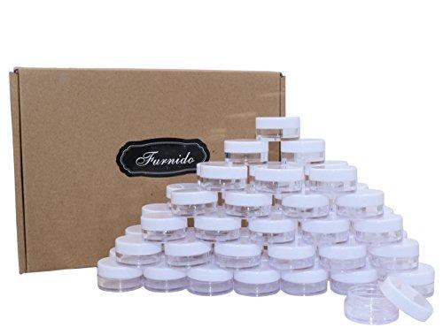 54Pack 5Gramm/5ml klein klar Kunststoff COSMETICS Probe Jar Box Nail Art Kosmetik Bead Aufbewahrung Topf rund Behälter Flasche, Weiß Deckel für Lidschatten Make-up Face Cream Lip Balm Container