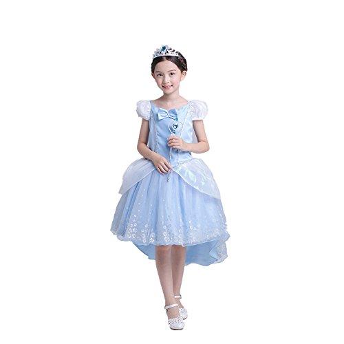 Das beste Prinzessin Karneval Verkleidung Party Kleid Kostüm (130, Blau 2)