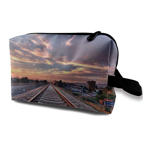 3 Lite Track (Train Relaxing Railroad Tracks Small Travel Toiletry Bag Super Light Toiletry Organizer for Overnight Trip Bag)