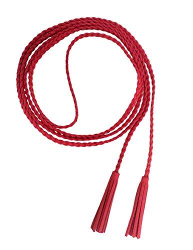 Nanxson Damen/Mädchen Dekorative Gestrickte Lederbauchkette/Seil / Gurt mit Troddel PDW0042 (rot)