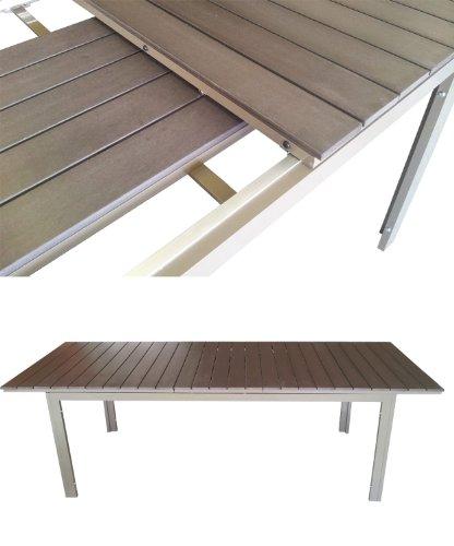 Neu ausziehbar Aluminium Tisch mit Polywood Tischplatte 200/250x95cm  WQ32
