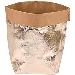 Sacs de rangement en papier kraft lavable en pot pour pot de fleurs, décoration de maison, papier lavable durable, couverture de plantes, sac de rangement pour chambre d'enfant 8*8*15 cm rose gold