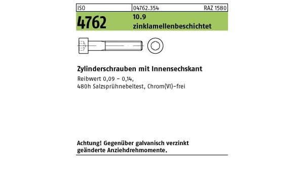 200 Inbus Zylinderkopfschrauben ISO 4762 10.9 verzinkt M8x25