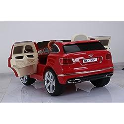 Niños Coche Eléctrico Bentley Bentayga SUV 2x35W 12V Coche Eléctrico Peatonal Controlado Eléctrico (Rojo)( (asiento de cuero)