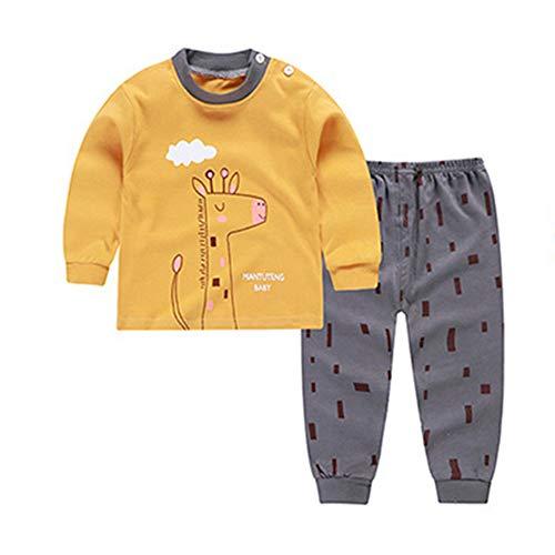 Bambino pigiama di cotone a maniche lunghe set sleepwear fumetto della stampa biancheria intima termica giraffe 110
