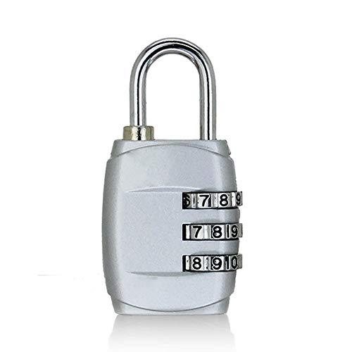 Kombinations Zahlenschloss, Kombinations Zahlenschloss 3-stellige Ziffern-Passwort Mini-codierte, verschlüsselte Diebstahlsicherungen [2er Pack] -Silber
