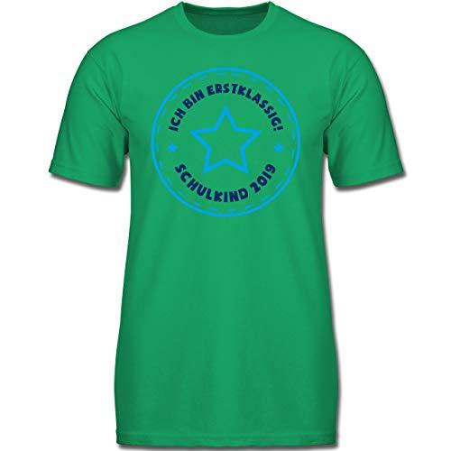 Einschulung und Schulanfang - Schulkind 2019 Ich Bin erstklassig Stern blau - 128 (7-8 Jahre) - Grün - F130K - Jungen Kinder T-Shirt -