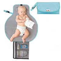 ‏‪Zooawa Baby Portable Diaper Changing Pad, Lightweight Waterproof Travel Diaper Clutch, Diaper Changing Mat Station with Mesh Pockets and Padded Head Rest, Blue‬‏
