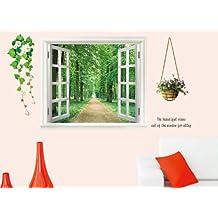 Walplus - Adesivo grande da muro, motivo finestra con vista 3D e piante da fiore, colore: Verde1 dic. 2011 di Walplus 3D Green View Flower