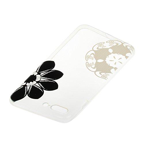iPhone 7 Plus Silicone Case,iPhone 7 Plus Coque - Felfy Coque Souple Transparente Gel TPU Soft Silicone Case éléphant Fleur Campanule Plume Totem Motif Design Premium Ultra-Light Ultra-Mince Skin de P Fleur Noir et Blanc