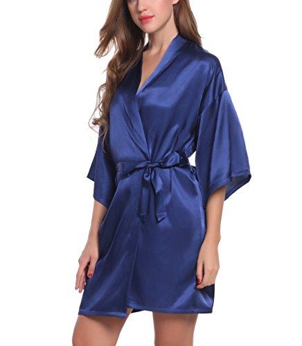 ADORNEVE Damen Nachtkleid Kimono Sexy Zweiteiliger Einfarbiges Glattes Nachthemd Dunkelblau