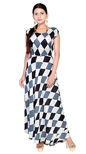 Ashwati Women\'s Party Wear Dress Round Neck Kurta One Piece for Girls Long Sleeveless Designer Western Wear Indian Kurti Maxi (Free Size up to XXL)
