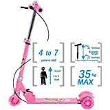 Galaxy Hi-Tech® 3-Wheel Height Adjustable Folding Kick Kids Scooty Scooter Tricycle for Indoor & Outdoor Fun with with Brake, Bell, LED and Adjustable Height for Kids (2.5-10 Years,)
