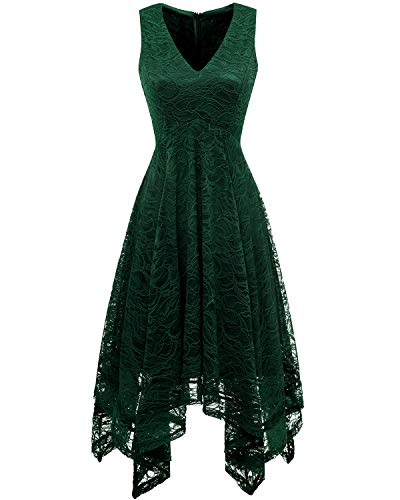 bridesmay Damen Elegant Cocktail unregelmäßig Spitzenkleid Brautjungfernkleider Dark Green S