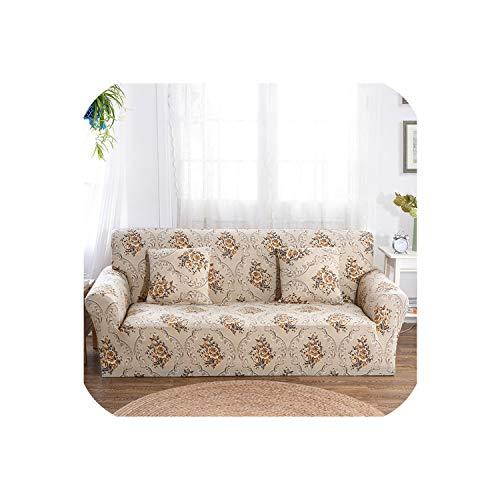 Happy Towns Universal-Stretch-Sofa-Überzug für Wohnzimmer, Sessel, Ecksofa, L-förmig, europäisches Blumenmuster, 8,2 Sitzer