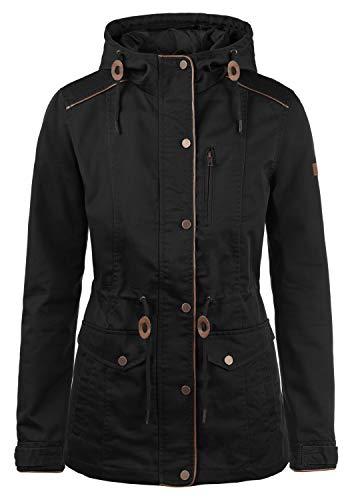 DESIRES Anja Damen Übergangsjacke Mantel Parka leichte Jacke mit Kapuze, Größe:L, Farbe:Black (9000)