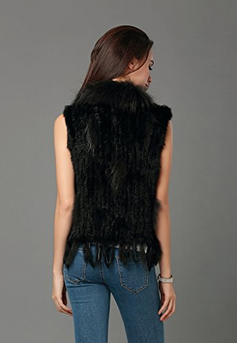 Furcoco® Femme Gilet Tricoté à Franges en Vraie Fourrure de Lapin Noir