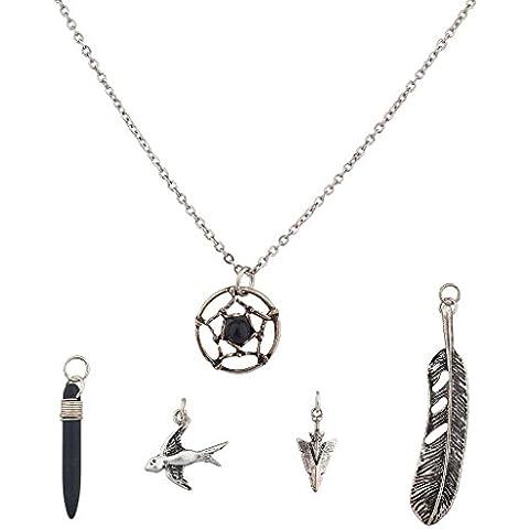 Lux accessori Dreamcatcher Nero amuleto Colomba Uccello Motivo Freccia intercambiabili Set collana.