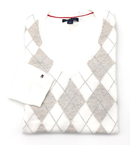 Tommy Hilfiger Pullover Gr.M V-Neck RAUTENMUSTER weiß-hellbraun Sweater Langarm-Pulli Damen