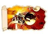 3D Wandtattoo Musik Trompete abstrakt Kunst Noten Jazz Tapete Wand Aufkleber Wanddurchbruch Deko Wandbild Wandsticker 11N2122, Wandbild Größe F:ca. 97cmx57cm