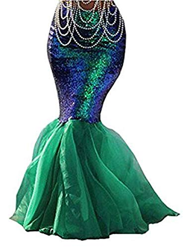 Beauty GO Frauen Halloween Costume Cosplay Mermaid Fancy Dress Abendröcke (L, Squines Green)