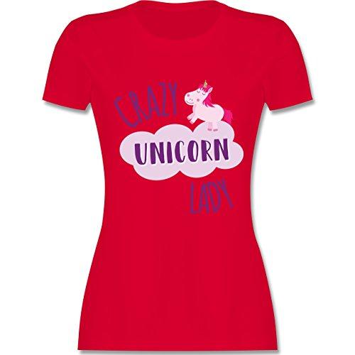 Statement Shirts - Crazy Unicorn Lady - tailliertes Premium T-Shirt mit Rundhalsausschnitt für Damen Rot