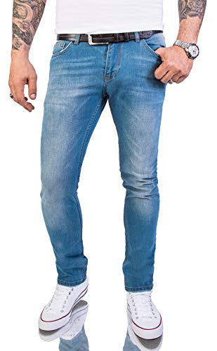 Rock Creek Herren Jeans Hose Slim Fit Stretch Jeans Herrenjeans Herrenhose Denim Stonewashed Hellblau Raw Used-Look Basic RC-2148 Stoneblue W38 L32 Vintage Denim Jeans-hose