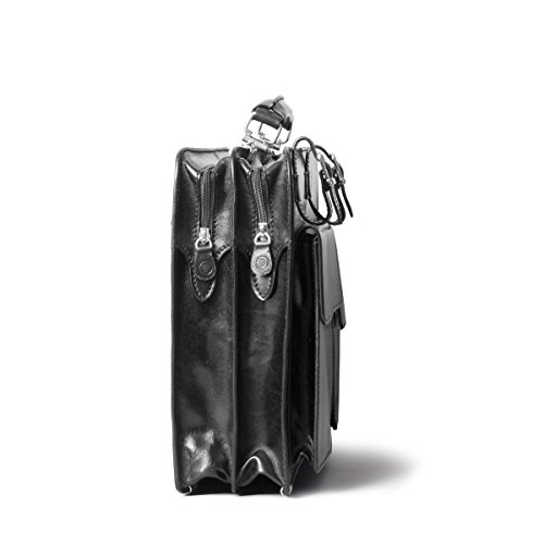 Maxwell Scott Bags - Sacoche Besace Ordinateur 15 Pouces Luxe en Cuir Italien - Noir Noir