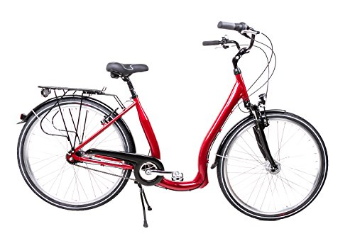 "28\"" Alu Damen City Bike Easy Boarding Tiefeinstieg Shimano 7Gang Nabendynamo Rot"