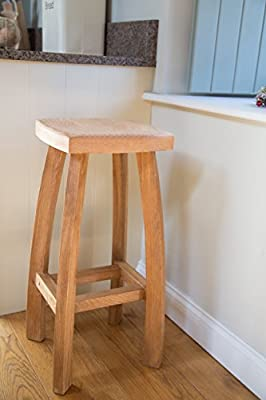 Fully Assembled Solid American Oak Bar Stool - Modern Wooden Bar Stool - Perfect For Kitchens, Dining Rooms And Occasional Seating. Brand New To Amazon And Manufactured Exclusively.
