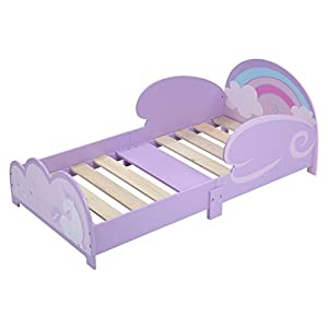 LANGRIA Princess Junior Wooden Bed Toddler Pegasus-Themed Bed, with Side Wings (Purple) Bedrooms (Purple)
