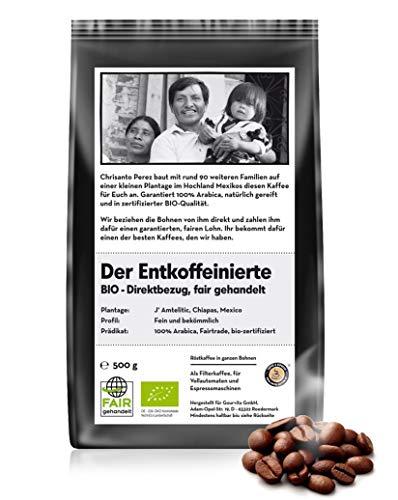 Coffee-Nation BIO & FAIR Der entkoffeinierte Kaffee 500g Bohne, perfekt für Vollautomaten, fair gehandelt und Bio-Qualität - Kaffee-bohnen Röstung Bio Dunkle