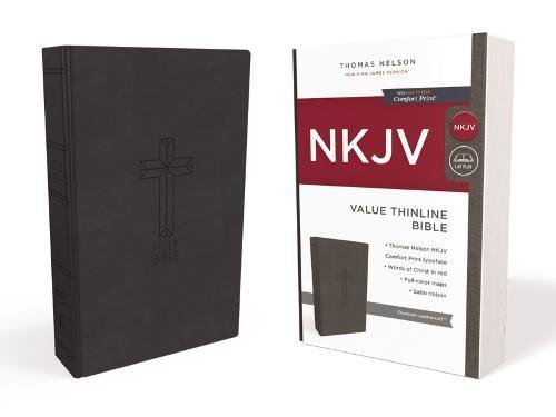 NKJV, Value Thinline Bible, Leathersoft, Black, Red Letter Edition, Comfort Print: Holy Bible, New King James Version