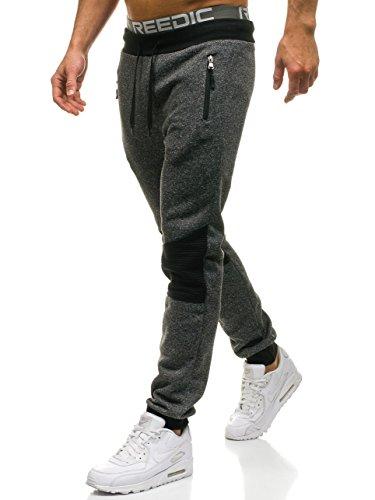 BOLF Pantaloni di tuta – Tipo jogger – Con coulisse – Con motivo di mélange – Con patch contrastanti – Da uomo RED FIREBALL W1209 Nero M [6F6]
