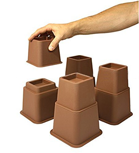 Design61 Alza de muebles de alza de camas (3 alturas diferentes) pie de elefante cónicos para camas y sillas conos de elevación de muebles pies hasta 68x68 mm 8 piezas (4altos + 4bajos) para pies de hasta 68x 68mm en color marrón