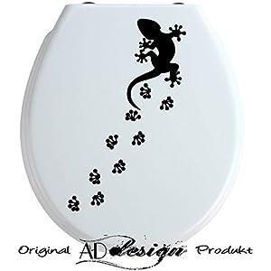 TREND DESIGN - Aufkleber für WC Toiletten Deckel ***Gecko mit Fußspuren*** (Größen + Farbauswahl)
